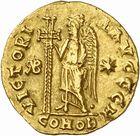 Photo numismatique  ARCHIVES VENTE 2010 -Amateur B 1 et B Chawartz 2 PEUPLES BARBARES BURGONDES Monnayage de GONDEBAUD (473-516) 206- Solidus au nom d'Anastase (491-518), émis avant 507 à Lyon.