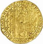 Photo numismatique  ARCHIVES VENTE 2010 -Amateur B 1 et B Chawartz 2 BARONNIALES Comté de PROVENCE JEANNE de NAPLES (1343-1382) 269- Franc d'or ou Reine d'or, 5e type, émis à Tarascon à partir de 1375.