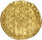 Photo numismatique  ARCHIVES VENTE 2010 -Amateur B 1 et B Chawartz 2 BARONNIALES Comté de PROVENCE LOUIS Ier (1382-1384) 270- Franc d'or émis à Avignon, 1er type : avec le titre de duc de Calabre.