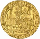 Photo numismatique  ARCHIVES VENTE 2010 -Amateur B 1 et B CHWARTZ 2 BARONNIALES Comté de FLANDRE LOUIS de MÂLE (1346-1384) 272- Lion d'or frappé à Gand en 1365-1367 et en 1370.
