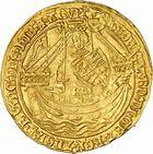 Photo numismatique  ARCHIVES VENTE 2010 -Amateur B 1 et B Chawartz 2 BARONNIALES Territoire de CALAIS EDOUARD III (1327-1377) 273- Noble d'or frappé après le Traité de Brétigny (1369-1377).