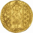 Photo numismatique  ARCHIVES VENTE 2010 -Amateur B 1 et B CHWARTZ 2 ROYALES FRANCAISES CHARLES V (8 avril 1364-16 septembre 1380)  277- Franc d'or à pied (20 avril 1365).
