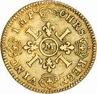Photo numismatique  ARCHIVES VENTE 2010 -Amateur B 1 et B Chawartz 2 ROYALES FRANCAISES LOUIS XIV (14 mai 1643-1er septembre 1715)  304- Louis d'or aux quatre L, 1693 Toulouse.