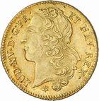 Photo numismatique  ARCHIVES VENTE 2010 -Amateur B 1 et B Chawartz 2 ROYALES FRANCAISES LOUIS XV (1er septembre 1715-10 mai 1774)  310- Double louis d'or au bandeau, 1746 Toulouse.