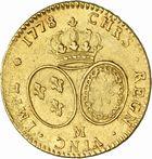 Photo numismatique  ARCHIVES VENTE 2010 -Amateur B 1 et B Chawartz 2 ROYALES FRANCAISES LOUIS XVI (10 mai 1774–21 janvier 1793)  314- Double louis d'or aux lunettes, 1778 Toulouse.