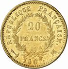 Photo numismatique  ARCHIVES VENTE 2010 -Amateur B 1 et B CHWARTZ 2 MODERNES FRANÇAISES NAPOLEON Ier, empereur (18 mai 1804- 6 avril 1814)  320- 20 francs or, 1807 Toulouse.