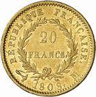 Photo numismatique  ARCHIVES VENTE 2010 -Amateur B 1 et B CHWARTZ 2 MODERNES FRANÇAISES NAPOLEON Ier, empereur (18 mai 1804- 6 avril 1814)  322- 20 francs or, 1808 Toulouse.