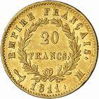 Photo numismatique  ARCHIVES VENTE 2010 -Amateur B 1 et B CHWARTZ 2 MODERNES FRANÇAISES NAPOLEON Ier, empereur (18 mai 1804- 6 avril 1814)  326- 20 francs or, 1811 Toulouse.