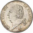 Photo numismatique  ARCHIVES VENTE 2010 -Amateur B 1 et B CHWARTZ 2 MODERNES FRANÇAISES LOUIS XVIII, 2e restauration (8 juillet 1815-16 septembre 1824)  330- 5 francs, 1824 Toulouse.