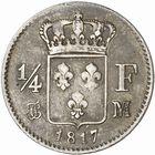 Photo numismatique  ARCHIVES VENTE 2010 -Amateur B 1 et B CHWARTZ 2 MODERNES FRANÇAISES LOUIS XVIII, 2e restauration (8 juillet 1815-16 septembre 1824)  331- Quart de franc, 1817 Toulouse.