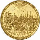 Photo numismatique  ARCHIVES VENTE 2010 -Amateur B 1 et B CHWARTZ 2 MEDAILLES ALGERIE et HAMBOURG  349- Demi-Portugalöser ou médaille en or de 5 ducats pour la Paix entre Hambourg et l'Algérie, 1751.