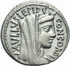 Photo numismatique  MONNAIES REPUBLIQUE ROMAINE L. Aemilius Lepidus Paullus (vers 62)  Denier.