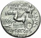 Photo numismatique  MONNAIES RÉPUBLIQUE ROMAINE M. Aemilius Scaurus et Pub. Plautius Hypsaeus (vers 58)  Denier.