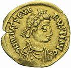 Photo numismatique  MONNAIES PEUPLES BARBARES VISIGOTHS Epoque d'EURIC (466-484), roi de Toulouse Solidus au nom de Libius Severus (461-466).
