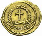 Photo numismatique  MONNAIES PEUPLES BARBARES VISIGOTHS Epoque d'EURIC (466-484), roi de Toulouse Tremissis au nom de Zénon (474-491), imitation du monnayage de Julius Népos à Rome.