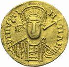 Photo numismatique  MONNAIES PEUPLES BARBARES VISIGOTHS Epoque d'AMALARIC (507-531), THEUDIS (531-548) à ATHANAGILDE (554-567)  Solidus au nom de Justinien Ier (527-565), émis à Narbonne ?