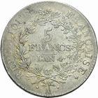 Photo numismatique  MONNAIES MODERNES FRANÇAISES LE DIRECTOIRE (27 octobre 1795-10 novembre 1799)  5 francs.