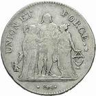 Photo numismatique  MONNAIES MODERNES FRANÇAISES LE CONSULAT (à partir du 24 décembre 1799-18 mai 1804)  5 francs.