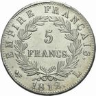 Photo numismatique  MONNAIES MODERNES FRANÇAISES NAPOLEON Ier, empereur (18 mai 1804- 6 avril 1814)  5 francs.