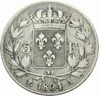 Photo numismatique  MONNAIES MODERNES FRANÇAISES LOUIS XVIII, 2e restauration (8 juillet 1815-16 septembre 1824)  5 francs.