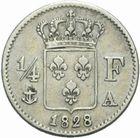 Photo numismatique  MONNAIES MODERNES FRANÇAISES CHARLES X (16 septembre 1824-2 août 1830)  1/4 de franc.