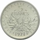 Photo numismatique  MONNAIES MODERNES FRANÇAISES 5ème RÉPUBLIQUE (Depuis le 4 octobre 1958)  Piéfort de 5 francs.