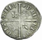 Photo numismatique  MONNAIES BARONNIALES Duché d'AQUITAINE EDOUARD, prince noir (1352-1372) Hardi d'argent.