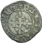 Photo numismatique  MONNAIES ROYALES FRANCAISES CHARLES VI (16 septembre 1380-21 octobre 1422)  Denier parisis. 3e émission.