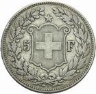 Photo numismatique  MONNAIES MONNAIES DU MONDE SUISSE CONFEDERATION 5 francs de 1891.