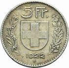 Photo numismatique  MONNAIES MONNAIES DU MONDE SUISSE CONFEDERATION 5 francs de 1922.