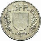 Photo numismatique  MONNAIES MONNAIES DU MONDE SUISSE CONFEDERATION 5 francs de 1926.