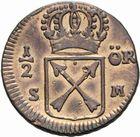 Photo numismatique  MONNAIES MONNAIES DU MONDE SUEDE FREDERIC Ier (1720-1751) 1/2 öre de 1720.