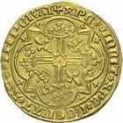 Photo numismatique  MONNAIES BARONNIALES Comté de PROVENCE JEANNE de NAPLES (1343-1382) Franc d'or ou Reine d'or, 5e type, émis à Tarascon à partir de 1375.