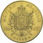 Photo numismatique  MONNAIES MODERNES FRANÇAISES NAPOLEON III, empereur (2 décembre 1852-1er septembre 1870)  100 francs or.
