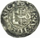 Photo numismatique  MONNAIES BARONNIALES Comté d'ANJOU Immobilisation du type de Foulques V (1109-1129) Denier.