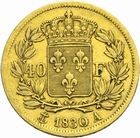 Photo numismatique  MONNAIES MODERNES FRANÇAISES CHARLES X (16 septembre 1824-2 août 1830)  40 francs or.