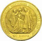 Photo numismatique  MONNAIES MONNAIES DU MONDE HONGRIE FRANCOIS-JOSEPH (1848-1916) 100 korona or des 40 années de règne.
