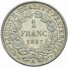 Photo numismatique  MONNAIES MODERNES FRANÇAISES 3ème REPUBLIQUE (4 septembre 1870-10 juillet 1940)  1 franc 1887.