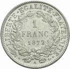 Photo numismatique  MONNAIES MODERNES FRANÇAISES 3ème REPUBLIQUE (4 septembre 1870-10 juillet 1940)  1 franc 1872.