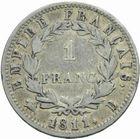 Photo numismatique  MONNAIES MODERNES FRANÇAISES NAPOLEON Ier, empereur (18 mai 1804- 6 avril 1814)  1 franc 1811.