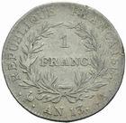 Photo numismatique  MONNAIES MODERNES FRANÇAISES NAPOLEON Ier, empereur (18 mai 1804- 6 avril 1814)  1 franc an 13.