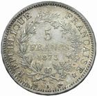 Photo numismatique  MONNAIES MODERNES FRANÇAISES 3ème REPUBLIQUE (4 septembre 1870-10 juillet 1940)  5 francs 1873.