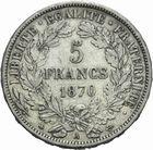 Photo numismatique  MONNAIES MODERNES FRANÇAISES GOUVERNEMENT de DEFENSE NATIONALE (4 septembre 1870-1871)  5 francs 1870.