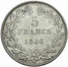 Photo numismatique  MONNAIES MODERNES FRANÇAISES LOUIS-PHILIPPE Ier (9 août 1830-24 février 1848)  5 francs 1845.