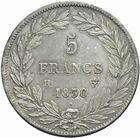 Photo numismatique  MONNAIES MODERNES FRANÇAISES LOUIS-PHILIPPE Ier (9 août 1830-24 février 1848)  5 francs 1830.