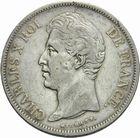 Photo numismatique  MONNAIES MODERNES FRANÇAISES CHARLES X (16 septembre 1824-2 août 1830)  5 francs 1830, tr. en relief.