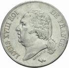 Photo numismatique  MONNAIES MODERNES FRANÇAISES LOUIS XVIII, 2e restauration (8 juillet 1815-16 septembre 1824)  5 francs 1824.