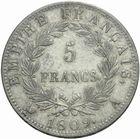Photo numismatique  MONNAIES MODERNES FRANÇAISES NAPOLEON Ier, empereur (18 mai 1804- 6 avril 1814)  5 francs 1809.