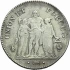 Photo numismatique  MONNAIES MODERNES FRANÇAISES LE DIRECTOIRE (27 octobre 1795-10 novembre 1799)  5 francs an 7.