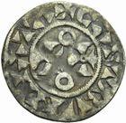 Photo numismatique  MONNAIES ROYALES FRANCAISES LOUIS VII (1er août 1137-18 septembre 1180)  Denier de Mantes, 1er type.